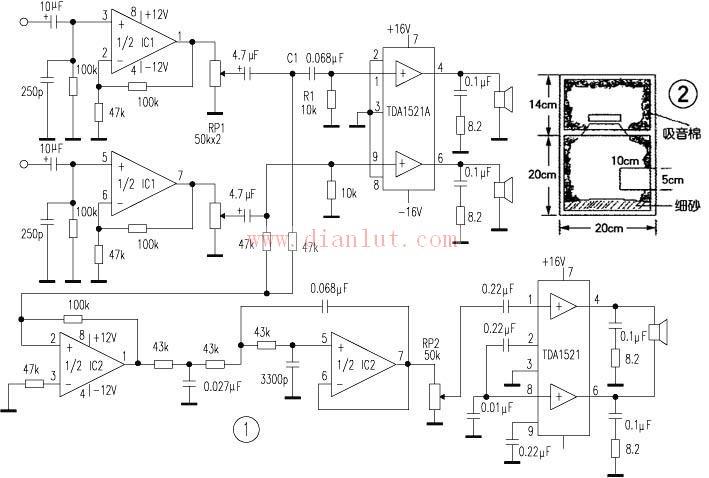 tda1521电路图低音炮电路图